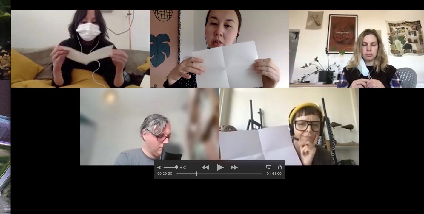 image of 5 people folding paper on zoom