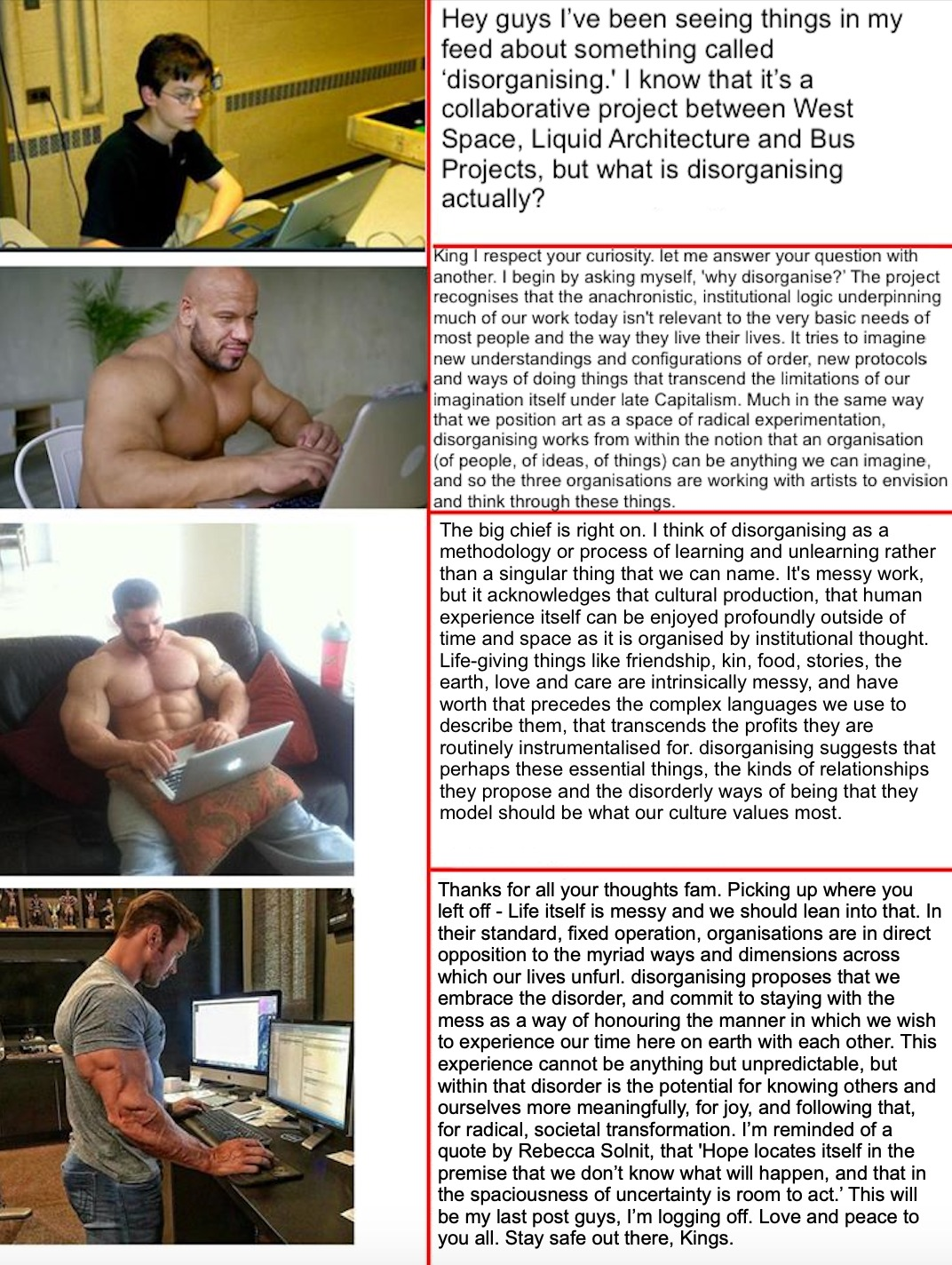 a meme for disorganising featuring a young boy sitting at a computer and three muscley men sitting at their laptops.